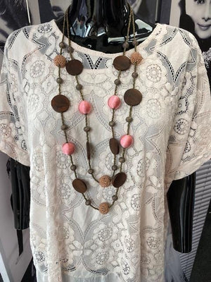 Deena Disc and Bead Detail Necklace - Lulu Bella Boutique