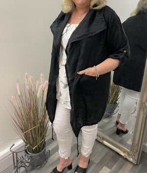 Leslie Linen Hooded Jacket