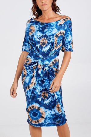 Toni Printed On Off Shoulder Parachute Dress