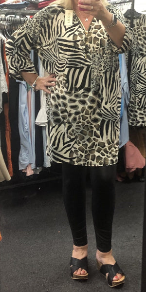Annabelle Animal Print Zip Tunic