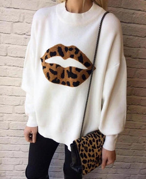 Sineade Leopard Lips Jumper - Lulu Bella Boutique