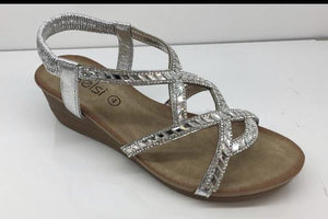 Kennedy Diamante Crossover Wedge Sandals