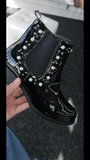 Jamie Pearl and Diamante Detail Ankle Boots - Lulu Bella Boutique