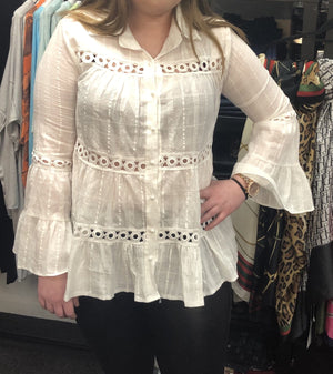 Carlie Frill & Crochet Detail Blouse - Lulu Bella Boutique