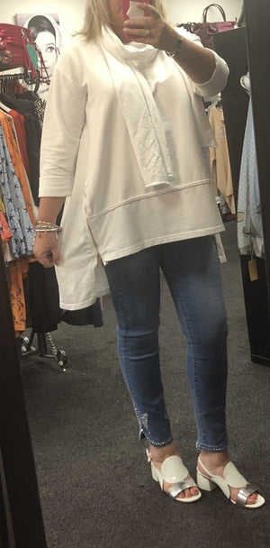 Olivia Oversized Scarf Top with Zip Detail - Lulu Bella Boutique
