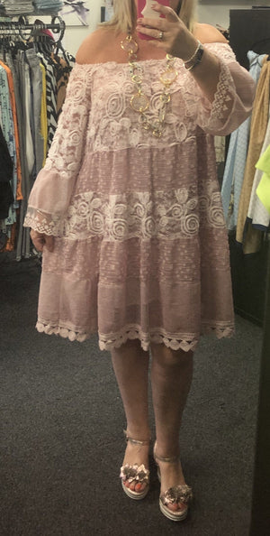 Clarrissa Cream Lace Tunic Dress - Lulu Bella Boutique