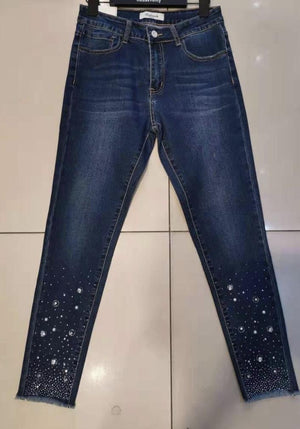 Tilly Diamante Encrusted Bottom High Waist Skinny Jeans