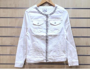 Alexa Diamante Detail Denim Jacket - Lulu Bella Boutique