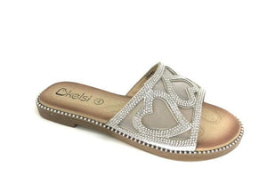 Hattie Diamante Heart Detail Sliders - Lulu Bella Boutique