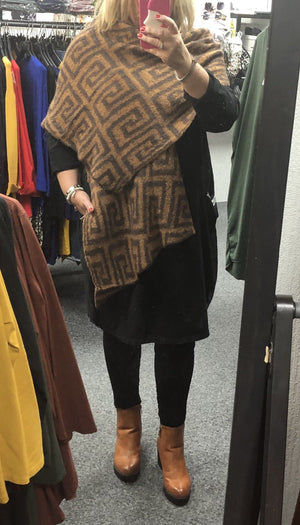 Fendi Inspired Wool Blend Shawl