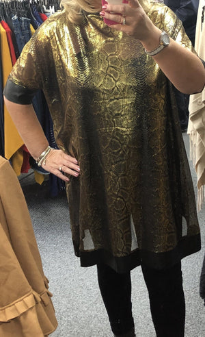 Millie Gold Foil Tunic with Vest