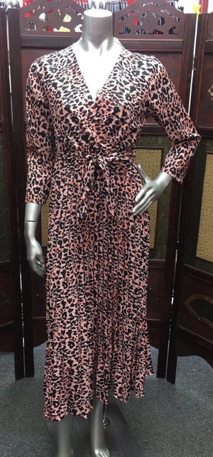 Amy Leopard Print Crossover Maxi Dress