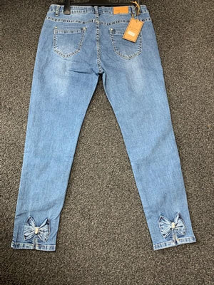Diamante & Pearl Bow Back Jeans