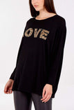 Olivia Oversized Leopard Diamante Top - Lulu Bella Boutique