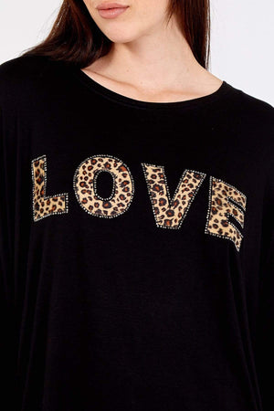 Olivia Oversized Leopard Diamante Top