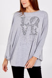 Sophia Oversized Batwing Top With Diamante Love Slogan - Lulu Bella Boutique
