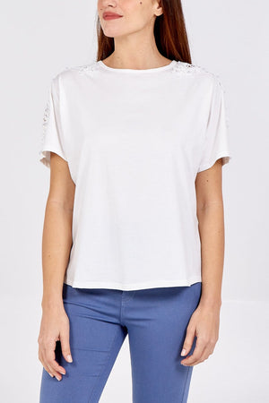 Lucy Lace & Pearl Sleeve T-Shirt - Lulu Bella Boutique