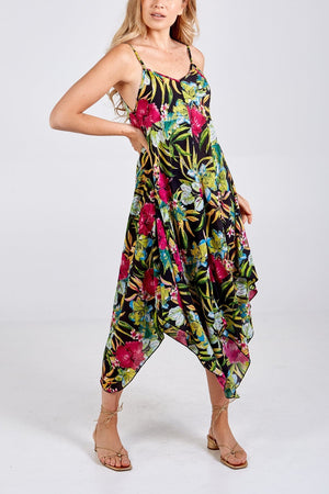 Beth Tropical Print Hanky Hem Dress - Lulu Bella Boutique