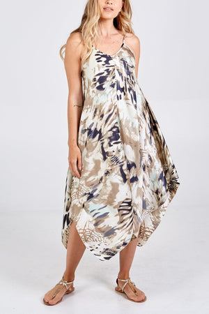 Abbie Abstract Print Hanky Hem Dress - Lulu Bella Boutique