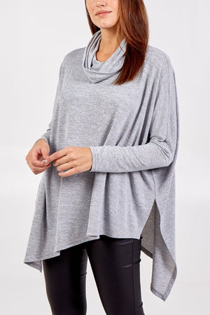 Dakota Double Asymmetric Cowl Neck Top - Lulu Bella Boutique