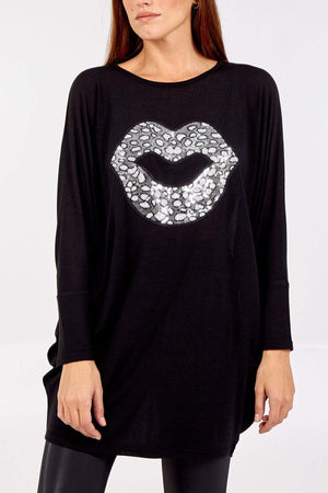 Suzanne Sequin Lips Long Top - Lulu Bella Boutique