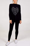 Dayna Diamante Heart Batwing Top & Jogger Set - Lulu Bella Boutique