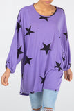 Lola Star Print High Low Batwing Top - Lulu Bella Boutique