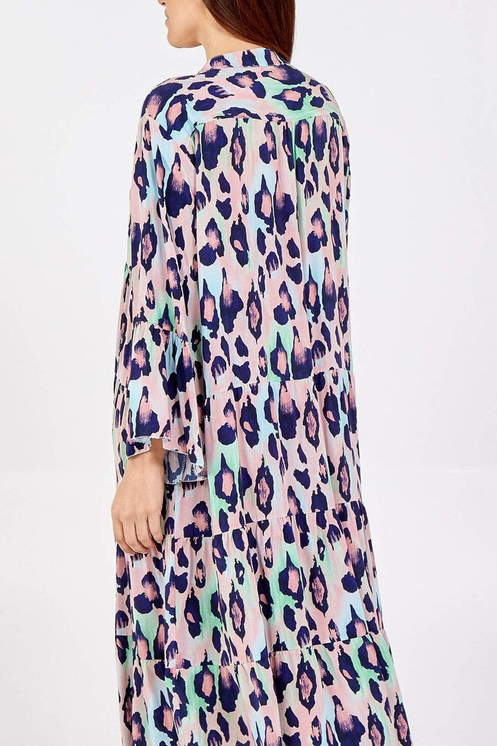 Tillie Tie Dye Maxi Leopard Print Tiered Dress