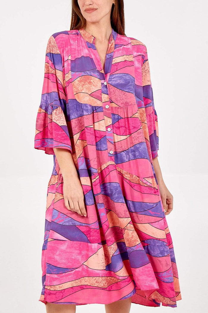 Anna Abstract Midi Smock Dress