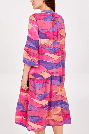 Anna Abstract Midi Smock Dress - Lulu Bella Boutique