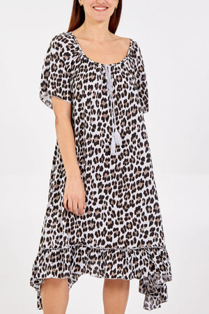 Lydia Leopard Print Frill Hem Dress - Lulu Bella Boutique