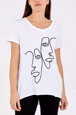 Adrianna Abstract Faces Scoop Neck Top - Lulu Bella Boutique