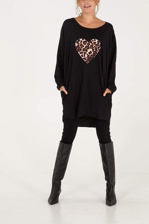 Jayden Leopard Heart Long Sleeve Tunic - Lulu Bella Boutique