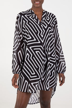 Kirstin Geometric Print Shirt Dress - Lulu Bella Boutique