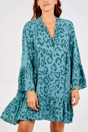 Georgie Leopard Print Smock Dress - Lulu Bella Boutique