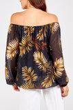 Leigh Leaf Print Bardot Top - Lulu Bella Boutique