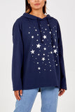 Melissa Metallic Star Hoodie - Lulu Bella Boutique