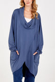 Camilla Cowl Neck Asymmetric Two Pocket Tunic - Lulu Bella Boutique