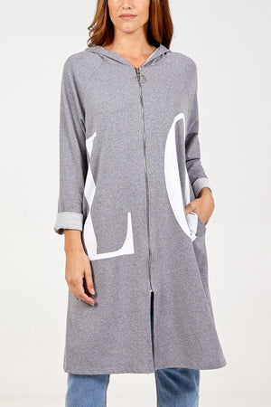 Lorna Love Hooded Zip Through Long Jacket - Lulu Bella Boutique