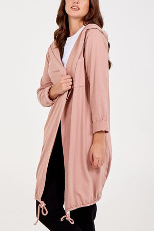 Pamela Plain Patch Pocket Hooded Long Cardigan - Lulu Bella Boutique