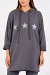 Gracie Glitter Stars Hooded Sweatshirt - Lulu Bella Boutique