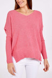 Rhonda Ribbed Batwing V-Neck Jumper - Lulu Bella Boutique