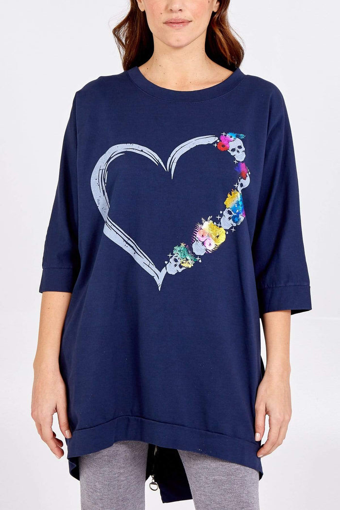 Holly Heart Flower Top With Zip Back