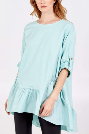 Hanley Frill Hem Elasticated Pockets Button Sleeve Top