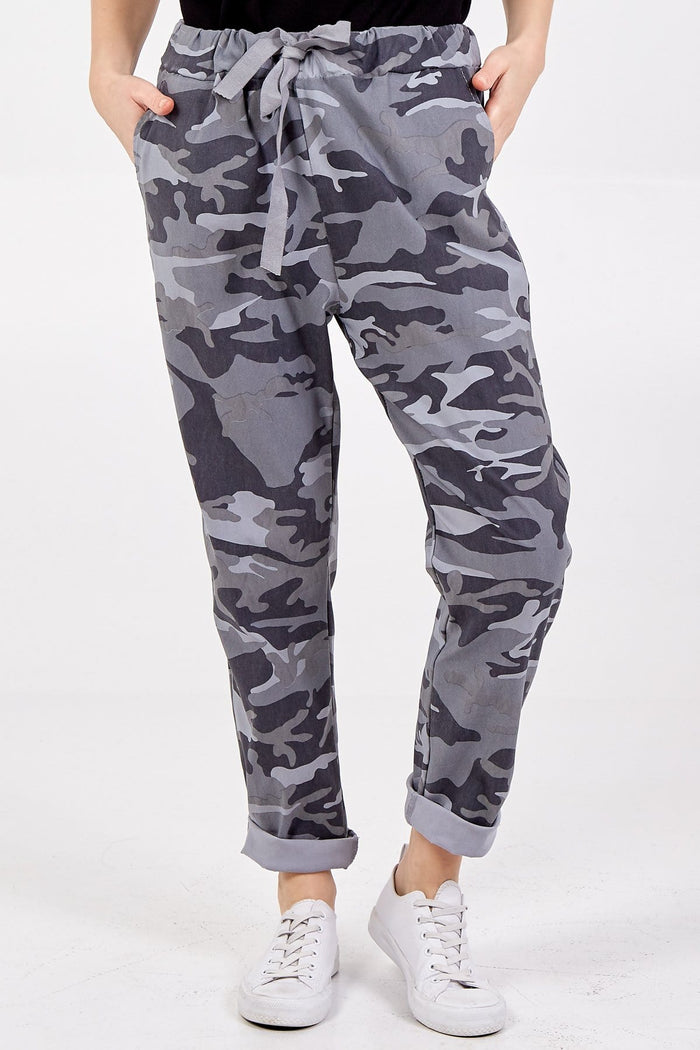 Miley Non Crush Curvy Super Stretch Camouflage Trousers