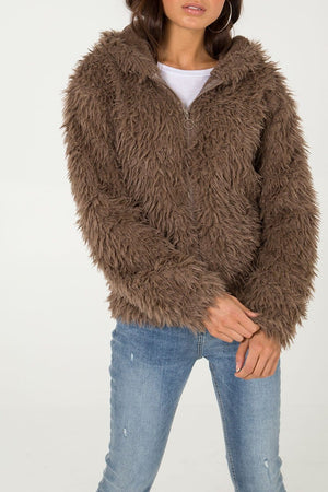 Elisha Shaggy Faux Fur Coat - Lulu Bella Boutique