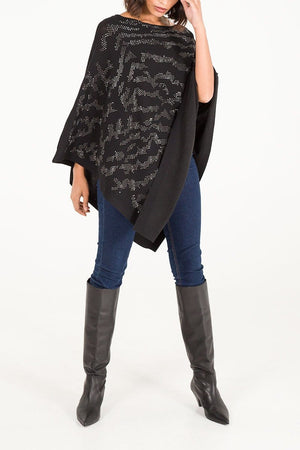 Katelyn Abstract Diamante Poncho - Lulu Bella Boutique