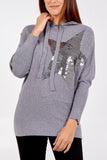 Sheila Sequin Star Knitted Hoody - Lulu Bella Boutique