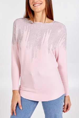 Bailey Batwing Jumper with Diamante Waterfall Detail - Lulu Bella Boutique