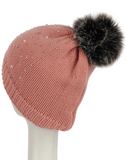Pearl & Diamante Faux Fur Pom Pom Knitted Beanie Hat